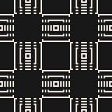 Teste padrão sem emenda geométrico monocromático do vetor com quadrados pequenos, linhas, grade ilustração do vetor