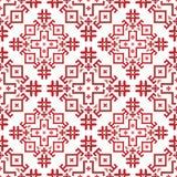 teste padrão sem emenda geométrico Vermelho-e-branco no estilo búlgaro ilustração royalty free
