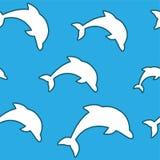Teste padrão sem emenda - golfinhos de salto brancos simples no fundo do azul do aqua Fotos de Stock