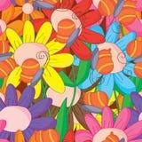 Teste padrão sem emenda grande da flor colorida alaranjada da borboleta ilustração do vetor