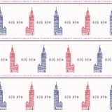 Teste padrão sem emenda grande do vetor de Londres Ben Clock Tower da silhueta famoso ilustração do vetor
