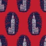 Teste padrão sem emenda grande do vetor de Londres Ben Clock Tower da silhueta Histórico famoso ilustração stock