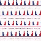 Teste padrão sem emenda grande do vetor de Londres Ben Clock Tower da silhueta Ingleses históricos famosos ilustração do vetor