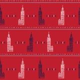 Teste padrão sem emenda grande do vetor de Londres Ben Clock Tower da silhueta Ingleses históricos famosos ilustração stock