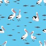Teste padrão sem emenda Grupos de pássaros do pelicano e de rebanhos dos peixes em um fundo azul ilustração royalty free