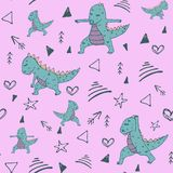 Teste padrão sem emenda Handdrawn com o dinossauro no asana da ioga no fundo do pino ilustração royalty free
