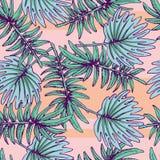 Teste padrão sem emenda havaiano colorido do verão com plantas tropicais ilustração royalty free