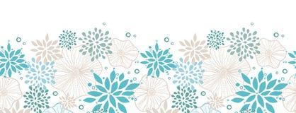 Teste padrão sem emenda horizontal das plantas azuis e cinzentas Fotos de Stock Royalty Free