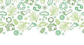Teste padrão sem emenda horizontal dos símbolos da ecologia Foto de Stock Royalty Free