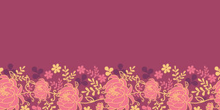 Teste padrão sem emenda horizontal vermelho das flores e das folhas Fotos de Stock