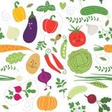 Teste padrão sem emenda, ilustrações dos vegetais Fotos de Stock Royalty Free