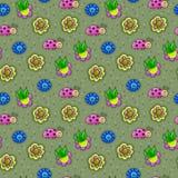 Teste padrão sem emenda impressionante com os insetos nas flores no vetor awe ilustração stock