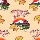 Teste padrão sem emenda japonês bonito com sakura Foto de Stock Royalty Free