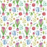 Teste padrão sem emenda - jardim floral, mola ou verão, lata molhando, flores, grama e joaninhas, potenciômetros de flor Apropria Fotos de Stock