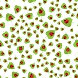 Teste padrão sem emenda Joaninha vermelho e folha verde fotografia de stock