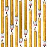 Teste padrão sem emenda Lápis no fundo branco Fotos de Stock Royalty Free