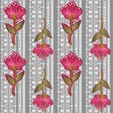 Teste padrão sem emenda laçado floral com as flores no cinza Imagens de Stock Royalty Free