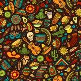 Teste padrão sem emenda latino-americano dos desenhos animados, mexicano desenhado à mão Foto de Stock