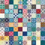Teste padrão sem emenda lindo mega dos retalhos das telhas marroquinas coloridas, ornamento Pode ser usado para o papel de parede fotografia de stock