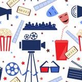 Teste padrão sem emenda liso do vetor com atributos do cinema Fotografia de Stock
