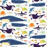Teste padrão sem emenda liso do vetor com os animais marinhos tirados mão, peixes, anfíbios isolados no fundo branco ilustração royalty free