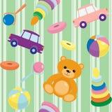 Teste padrão sem emenda listrado com brinquedos Imagem de Stock Royalty Free