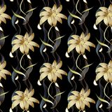 Teste padrão sem emenda luxuoso floral Parte traseira floral listrada do preto do vetor Foto de Stock Royalty Free