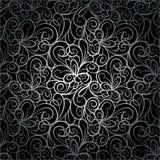 Teste padrão sem emenda luxuoso retro abstrato do fundo do redemoinho no vetor Textura infinita do laço de prata Imagem de Stock Royalty Free