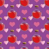 Teste padrão sem emenda mágico com poção de amor em uma garrafa - vector a ilustração Foto de Stock