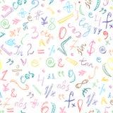 Teste padrão sem emenda mão colorida de símbolos e de números tirados da garatuja Sinais da matemática do garrancho Fotografia de Stock Royalty Free