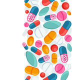 Teste padrão sem emenda médico com comprimidos e cápsulas Imagem de Stock