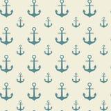 Teste padrão sem emenda Marine Vintage Ornament Background das âncoras ilustração do vetor