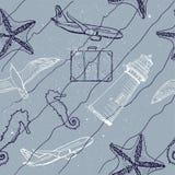 Teste padrão sem emenda marinho Ilustração do Vetor