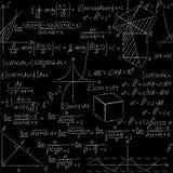 Teste padrão sem emenda matemático com fórmulas da geometria, gráfico da matemática, triângulo Fotografia de Stock