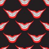 Teste padrão sem emenda mau do sorriso do palhaço ou do palhaço do cartão Fotografia de Stock Royalty Free