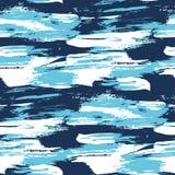 Teste padrão sem emenda moderno do curso da escova da água azul ilustração do vetor