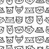 Teste padrão sem emenda monocromático com as caras do gato no fundo branco Fotos de Stock Royalty Free