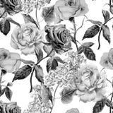 Teste padrão sem emenda monocromático com flores Imagem de Stock Royalty Free