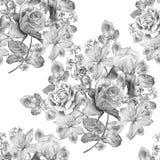 Teste padrão sem emenda monocromático com flores da mola Rosa íris Jacinto Clematis watercolor Fotografia de Stock