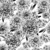 Teste padrão sem emenda monocromático com flores dahlia anemone Peônia Ilustração da aguarela Fotografia de Stock