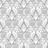 Teste padrão sem emenda monocromático com motivos florais ilustração royalty free