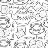 Teste padrão sem emenda monocromático do tempo do chá Fotografia de Stock Royalty Free