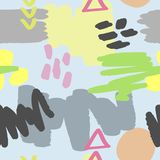 Teste padrão sem emenda na moda abstrato Garranchos repetidos do watercolour, formas geométricas, cursos da escova Fotografia de Stock Royalty Free