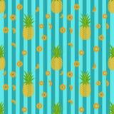 Teste padrão sem emenda na moda tropical com abacaxis Fotografia de Stock Royalty Free