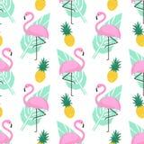 Teste padrão sem emenda na moda tropical com flamingos cor-de-rosa, abacaxis e folhas de palmeira verdes no fundo branco Fotos de Stock