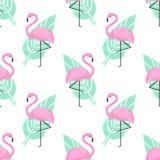 Teste padrão sem emenda na moda tropical com flamingos cor-de-rosa e folhas de palmeira verdes no fundo branco Imagem de Stock Royalty Free