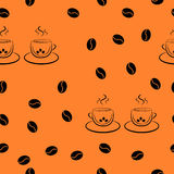 Teste padrão sem emenda na ordem aleatória de um par de xícaras de café e de feijões de café ilustração stock