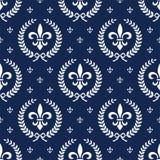 Teste padrão sem emenda Neoclassical de matéria têxtil com louro Fotografia de Stock Royalty Free