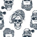 Teste padrão sem emenda no estilo do pop art com cabeças das mulheres de esqueleto, lenço da forma e penteado, contra o triângulo ilustração stock