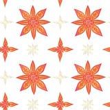 Teste padrão sem emenda no estilo indiano Lótus abstratos em cores vermelhas com contornos do ouro em um fundo branco ilustração do vetor